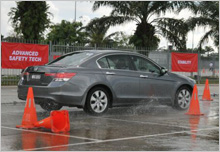 ABS at test- Honda's safety feature promises stability under wet situation.