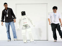 Today, ASIMO is able to shift his center of gravity to maintain balance while balancing on one foot.