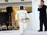 The new ASIMO can now walk at 2.7km/hour and run up to 6km/hour, doubled from his previous 3km/hour with an airborne time of 0.08 seconds.