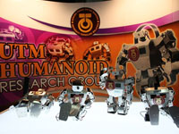 UTM Robocon Team demonstrates their humanoid robot invention and abilities.