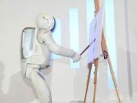 ASIMO demonstrated the world's first ever Batik painting in Penang. His opposable thumbs that allow him to hold odd-shaped objects make him possible to hold up a brush today.