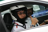 Johardy Ibrahim from Utusan all geared up for his fun time with Civic Type R on track