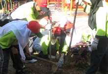Encik Azman Idris, Tuan Haji Kasim B. Mohamad and Puan Safiah planting the trees at a selected garden in the school.