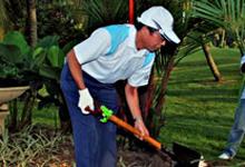 Mr.Ikuo Kanazawa, VP of HMSB planting a tree.